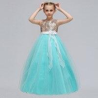 6354 Flowers Sash Sequins Teen Cô Gái Công Chúa Trang Phục Cưới Bên Vải Tuyn Maxi Kids Dresses For Girls Bán Buôn Cô Gái Quần Áo