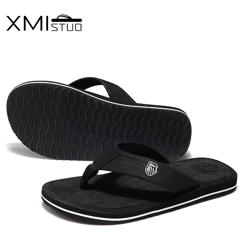 XMISTUO British style men shoes Cool Men Flip Flops for loose-fitting men beach slippers, rubber flip-flops outdoor men sandals