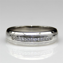 Estate Design 0.8ctw ASCD Simulated Diamond 925 Sterling Silver Plate Platinum Wide Band Accents Eternity Wedding Band for Men