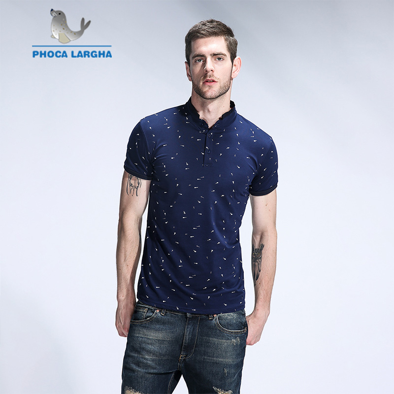 2019 New Men's   Polo   Shirts Male Casual Guitar Print   Polo   Shirt Men Solid Stand Collar Sleeve High Quantity Cotton   Polos   Men