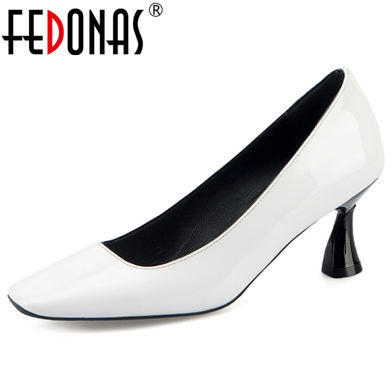 FEDONAS New Women Genuine Leather High Heels Slip On Spring Autumn Party Wedding Shoes Woman Square