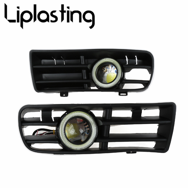 2pcs White Len Front Bumper Fog Light Lamp Grill with Wires for 98-04 VW Golf 4 runmade for 2010 vw transporter t6 t5 before facelift lower bumper grill fog cover fog light lamp set left