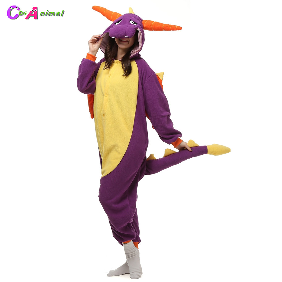 Polar Fleece Kigurumi Spyro The Dragon Costume Cartoon Onesies Pajama Halloween Carnival Masquerade Party Christmas Jumpsuit