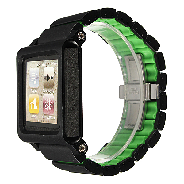 Aluminium Watch Straps Multi Touch Replacement For iPod Nano 6th New Color: Black-Green