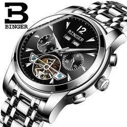 Szwajcaria BINGER zegarek męski pełny kalendarz Tourbillon Sapphire mult-funkcje wodoodporne automatyczne zegarki mechaniczne B8608M3