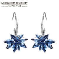 Neoglory MADE WITH SWAROVSKI ELEMENTS Crystal Long Drop Earrings Exquisite Geometric Stylish Women Wholesale Alloy Plated