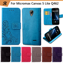 Newest For Micromax Canvas 5 Lite Q462 Factory Price Luxury Printed Flower 100% Special PU Leather Flip case with Strap
