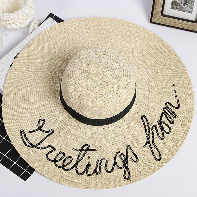 20ca8128bcc 2018 New Letter Embroidery Women Summer Hat Ladies Wide Brim Straw Hat  Outdoor Beach Ladies Casual