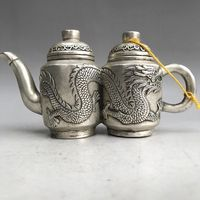 China's Tibet silver double teapot handmade carving dragon statue