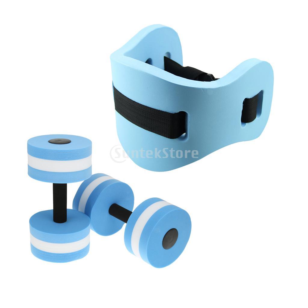 Water aerobics kits back floating foam swimming belt aquatic dumbbells aqua jogging pool for Flotation belt swimming pool exercise equipment