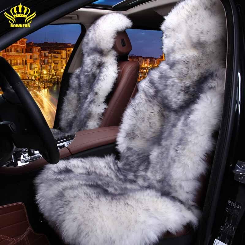 100% Natural fur Australian sheepskin car seat covers universal size,6 colors,Long Hair for car lada granta lada kalina priora   MINI
