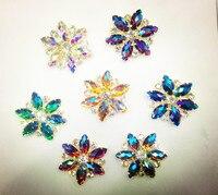 Gratis verzending ~! 50mm bloemvorm 7 kleur Flat Terug Naaien Hars kristal Kralen.