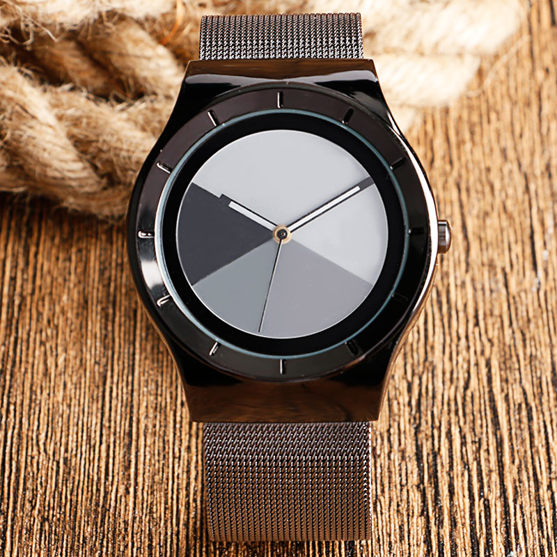 Hot Sale Modern Fashion Business Men Quartz Wristwatch 4 Colors Dial Mesh Stainless Steel Simple Casual Male Watches Best Gift