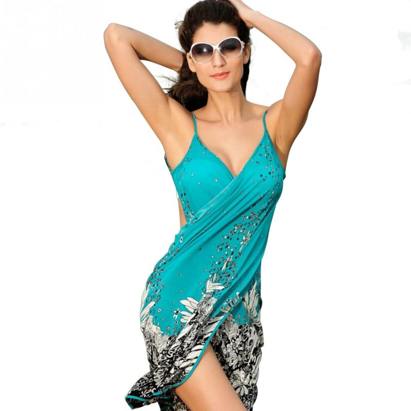 cdd6d518bc3e Summer Women Polyester Beach Dress Sexy Sling Beach Wear Sarong Bikini Cover  up Wrap Skirt Scarf Shawl Towel Open Back Swimwear-in Cover-Ups from Sports  ...
