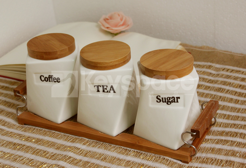 Three Piece Ceramic Canister Set With Bamboo Cover Sealed Cans Tea Coffee Sugar Jar Home Storage Bottles Kitchen Supplies In Jars From