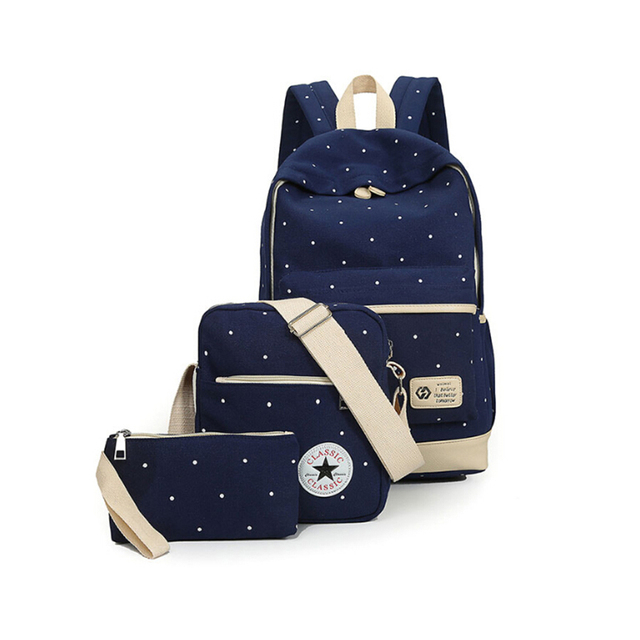 4eaf5ac4e5 3 IN 1 Korean Casual Women Bookbags Canvas Dot Printing Backpack Sets Cute  School Bags Backpacks for Teenager Girls Shoulder Bag