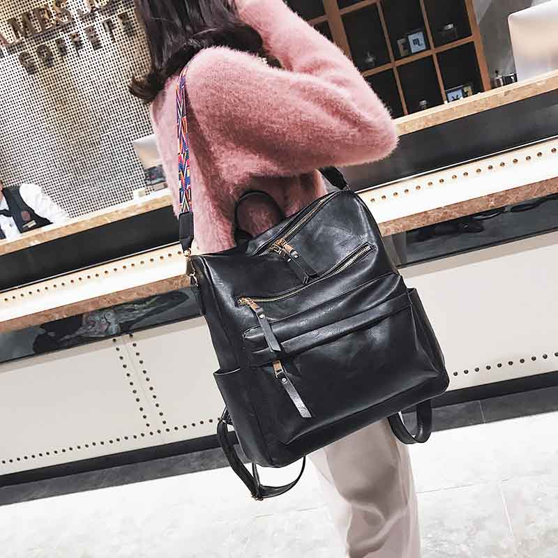 Leather Backpack Women Students School Bag Large Backpacks Multifunction Travel Bags Mochila Pink Vintage Back Pack Xa529h #5