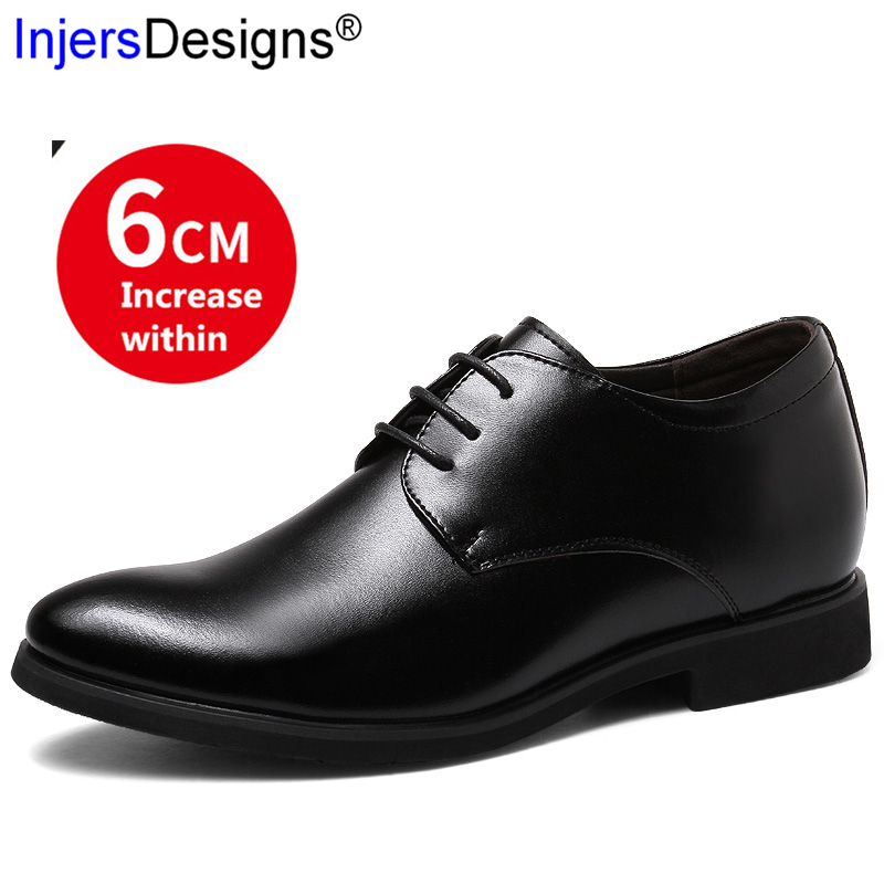 New Arrival Dress Shoes Men Formal Shoes Height Increasing 6cm Fashion Lace-Up Pointed Toe Business Men Shoes Zapatos De Hombre
