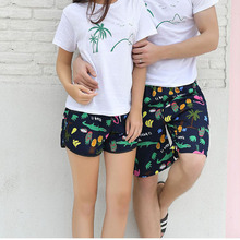 Quick Dry Beach Shorts Men Women Printed Couple Swimwear Elastic Swim Trunks Summer Swimming Briefs Board