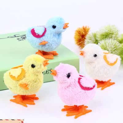 1Pc Plastic Small Cartoon Chicken Childrens Chain Clockwork Wind-Up Mechanical Toys for Kids Funny Games Plush Animal