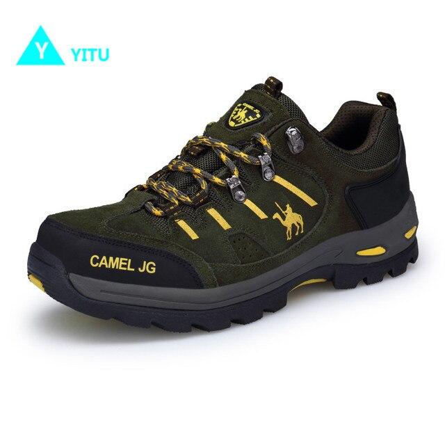 YITU Men Hiking Sneakers Outdoor Trekking Tourism Comfortable Sports Shoes  Anti-skid Men Camel Shoes