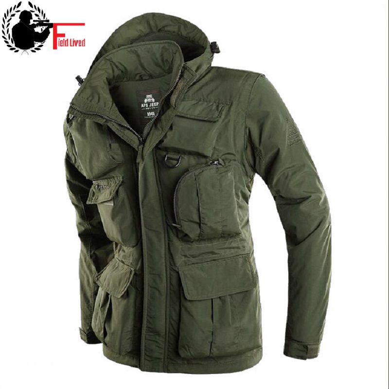 Brand Mens Loose Casual Hooded Jacket Military Style Clothing Detachable Sleeves Waterproof