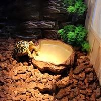 Reptile insect water Dish Water Bowl Feeding Tray Bath Tortoise Gecko Lizard Snake Turtle Marble Pattern Terrarium Decor Large