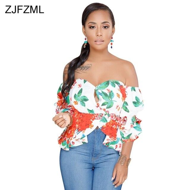 ab82124ae2c ZJFZML Black Floral Print Sexy Shirt Women Slash Neck Puff Sleeve Top  Vintage White Backless Zipper Ruffles Cold Shoulder Tees