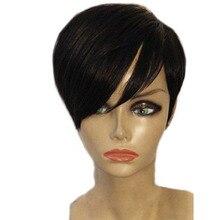 Sunnymay полный кружевной короткий парик человеческих волос предварительно сорвал парики шнурка для черных женщин Remy бразильский парик 130% отбеленные узлы
