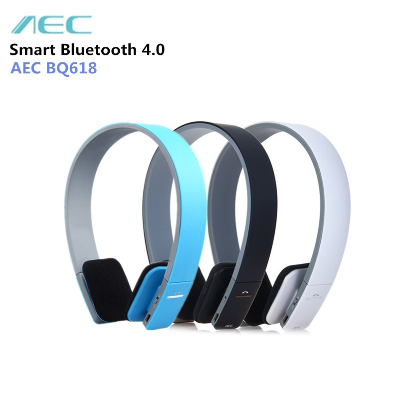 AEC BQ-618 Wireless Smart Bluetooth Stereo Headset with MIC Support 3.5mm Stereo Audio Handsfree Headphone for Phone Tablet high quality 2 43m fly fishing 4 sections portable 66cm ultralight carbon fishing rod medium fast action fly rod tenkara fr166