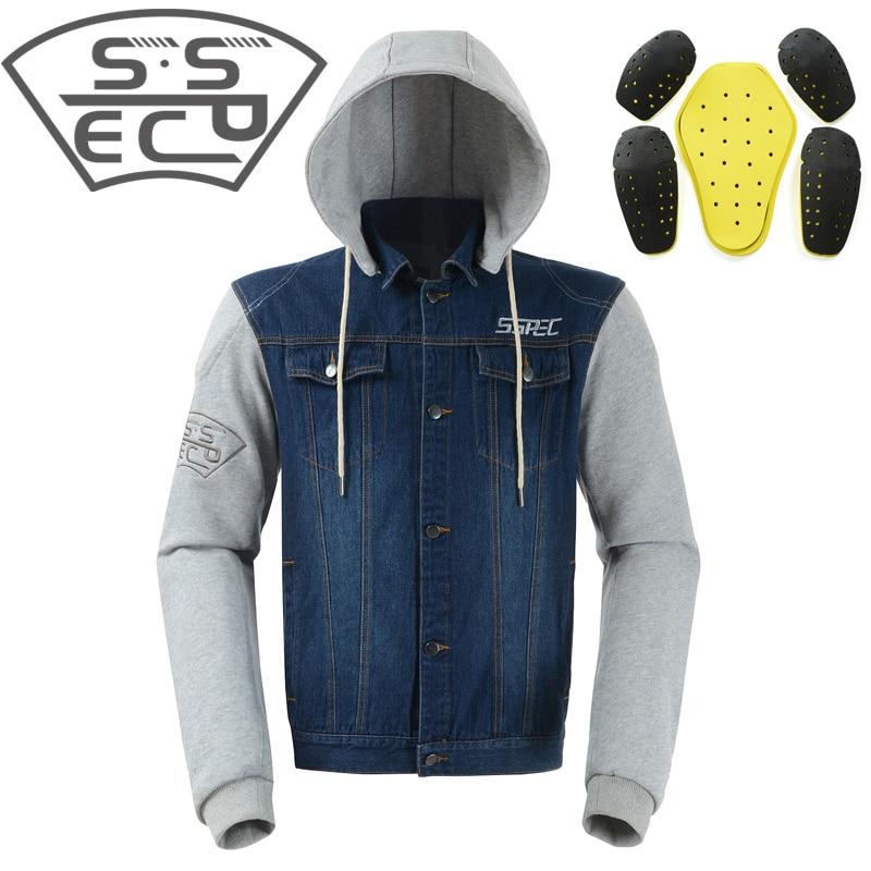SSPEC Motorcycle Jacket Men Denim Motorbike Motocross Protective Gear jacket Spring Summer JACKET chaqueta de motocicletas S-XXL men destroyed denim jacket
