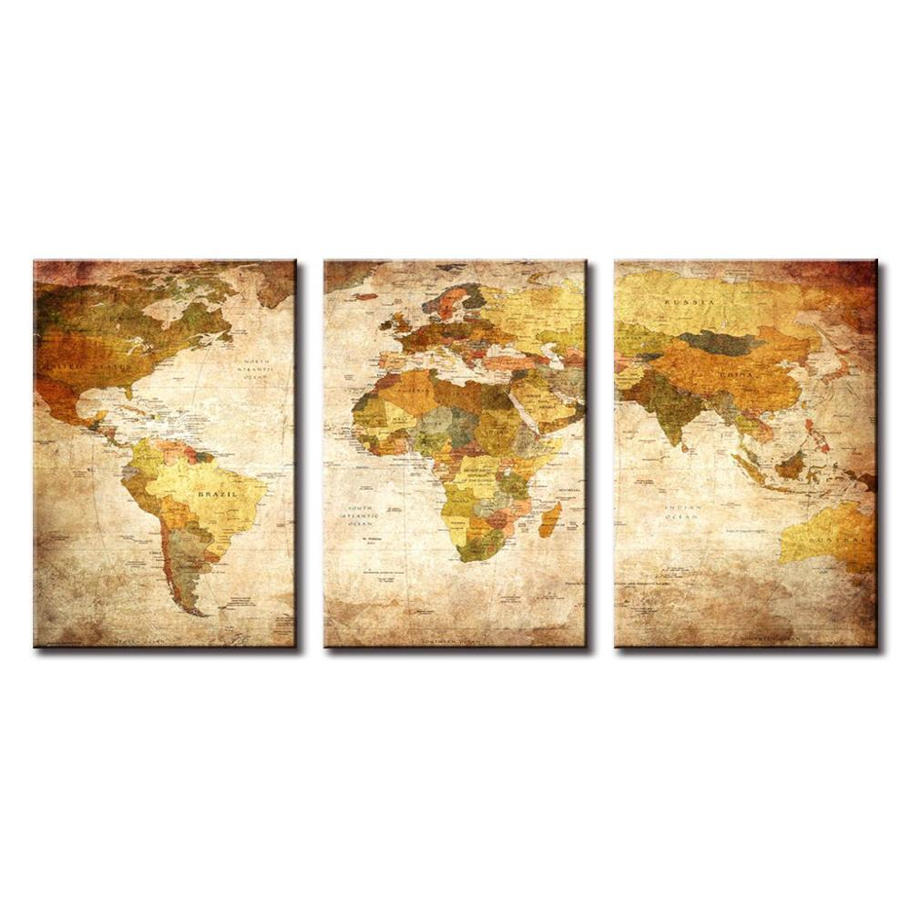 3 panel Canvas Art world map Painting Wall Art Paintings Picture ...