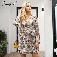 Simplee V Neck Floral Print Winter Dress Women Lace Long Sleeve High Waist Dress Vestidos Hollow
