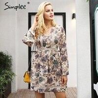 Simplee V neck floral stampa donne del vestito di inverno Del Merletto lungo abito a vita alta abiti Hollow out zipper robe dress femminile