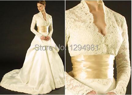 Beautiful Ivory Satin Lace Long Sleeve V Neck Wedding Dress Grace Kelly Inspired A Line Bridal Gown Dresses W Wide Sash Dress Long Sleeve Tunic Dress Dresses Girldresses Movie Aliexpress