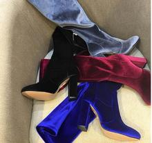 Kaeve Red/Black/Burgundy/Blue Flock Over-the -Knee Boots Round  Toe Hollow Thin Shoes Chunky High Heels Knight
