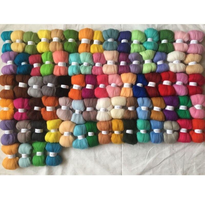 WFPFBEC FELT merino sheep wool fiber needle felting wool roving for needle felted wool 10g color