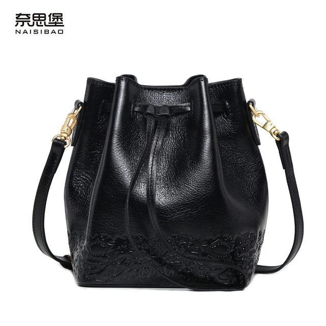 d0edfafc41 High quality Chinese style Genuine Leather Vintage pattern Bucket bag name  brand handbag fashion Shoulder Messenge