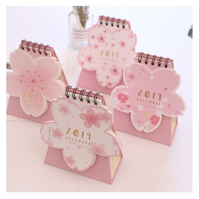 2019 Cute Cherry Blossom Pink Calendar Diy Table Calendars Desk