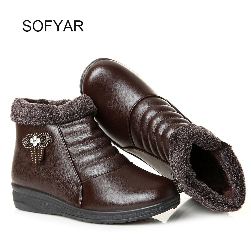 Winter new women s cotton shoes elderly mother high shoes with thick warm boots soft non