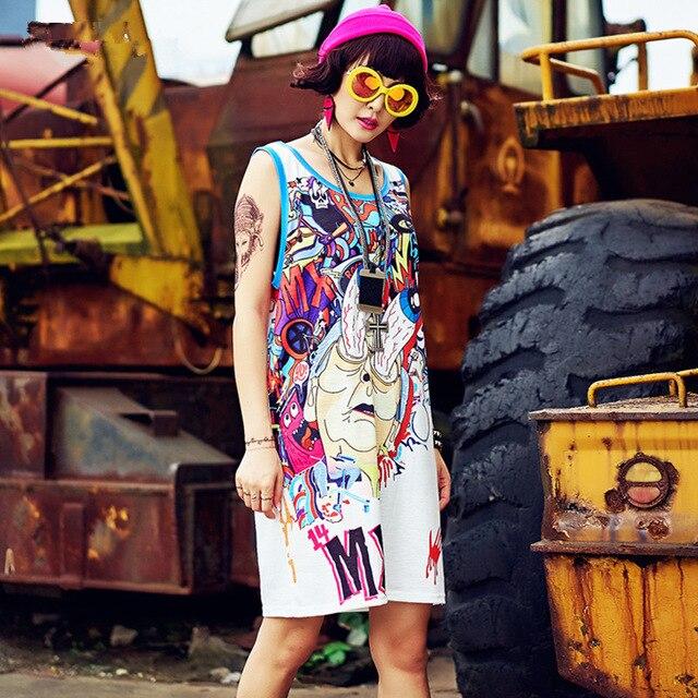 2019 Summer New Oversize Sleveless Dresses For Women Graffiti Cartoon Tee T shirt Dress Streetwear Hip Hop Dance Clothes