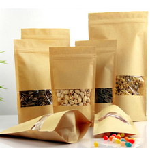 Kraft Paper Tea Bag Stand up Gift Fruit Tea packaging Pouches Zipper Self Sealing Bags 100pcs/lot