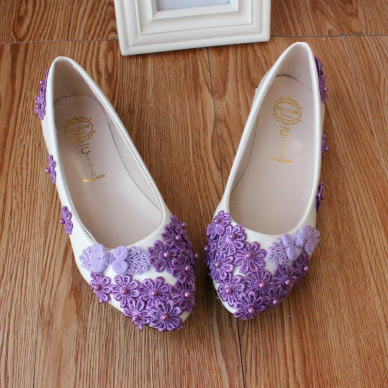 Purple Flat Bridesmaid Shoes Women\'s Wedding Shoes Low Heeled Lace ...