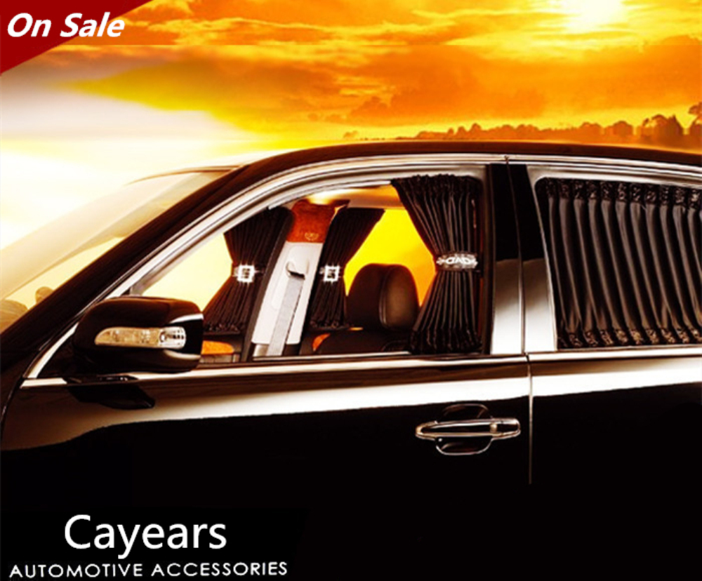 1Set DAD Car Curtains Vip Crystals Buckle Black Velvet Add Pure Cotton Uv Protection Auto Car