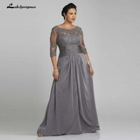 Plus Size Grey Mother Off Bride Dresses Sheer Neck Applique Open Back Vintage 3/4 Long Sleeves Women Formal Evening Gowns
