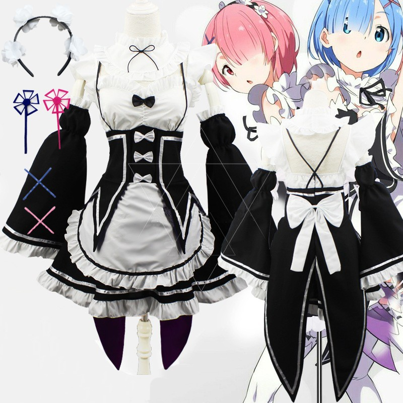 Re Zero Ram/Rem Cosplay Re:Life In a Different World From Zero Rem Ram Cosplay Costumes Wig Set Maid Servant Dress
