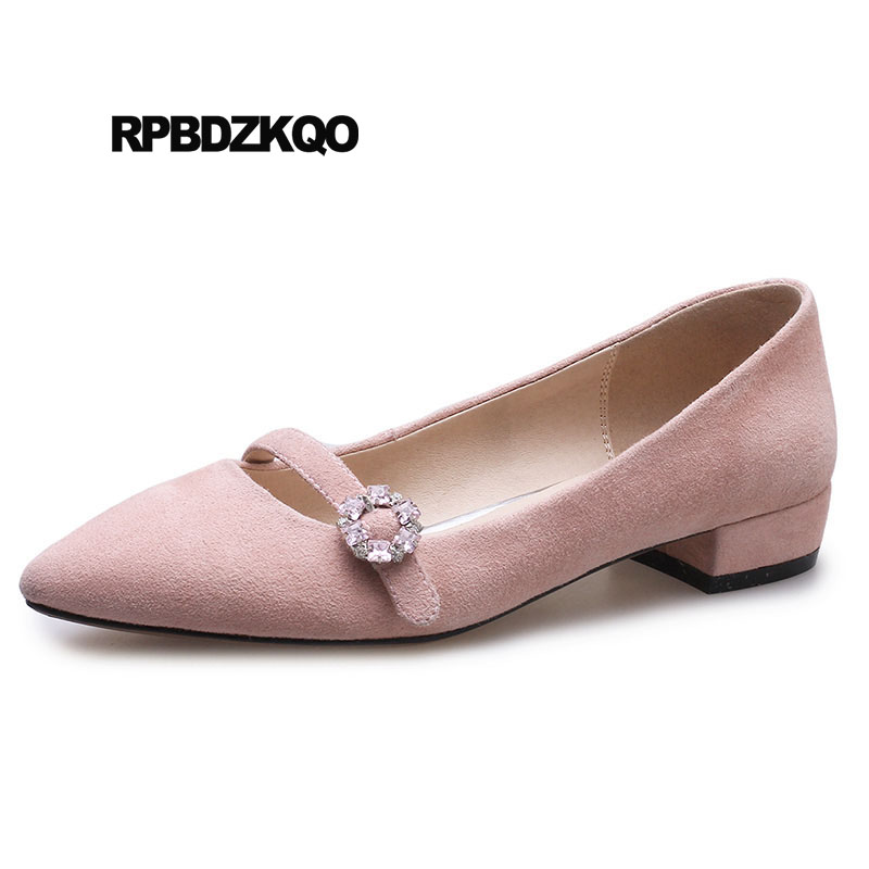 Pointed Toe Pink Suede Flats 2018 Low Heel Black Designer Slip On Mary Jane China Women Dress Shoes Beautiful Rhinestone Crystal japanese mary jane big bow flats soft suede black pointy women dress shoes ladies pointed toe cute 2018 kawaii velvet european