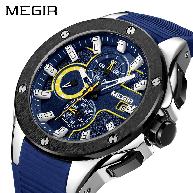MEGIR Men Sport Watch Chronograph Silicone Strap Quartz Army Military Watches Clock Men Top Brand Luxury Male Relogio Masculino xinge top brand luxury leather strap military watches male sport clock business 2017 quartz men fashion wrist watches xg1080