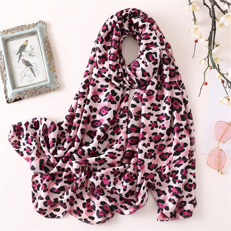2019 Leopard Silk   Scarf   Women Satin Smooth Print Shawl Foulard Hijabs Female   Scarves   Ladies Girls Neck Long Head   Scarf     Wraps