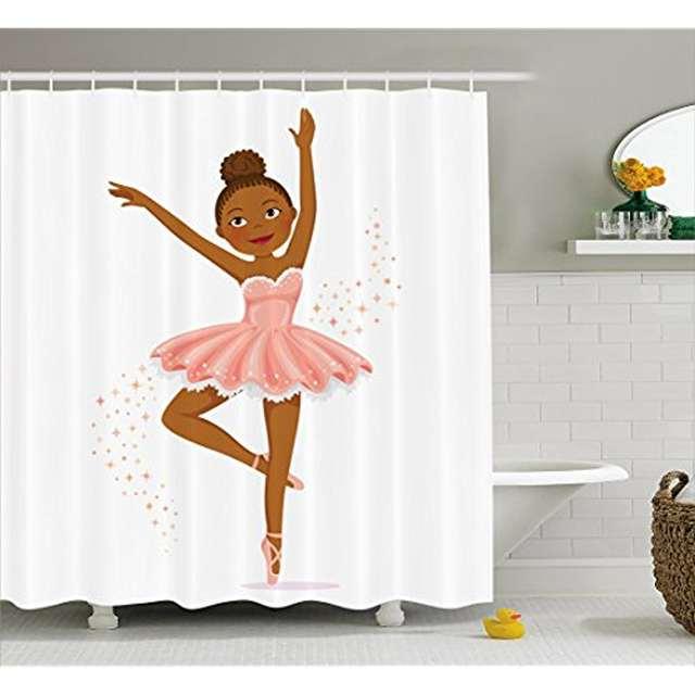 Vixm Girls Shower Curtain Ballerina Dancing Daughter Classic